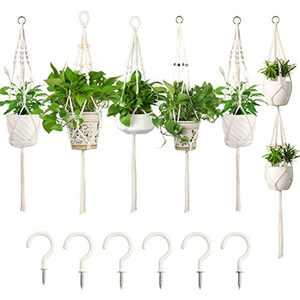 E-Know Macrame Plant Hanger 5 Pack, Hanging PlanterIndoor Outdoor Handmade Cotton Rope, Hanging Plant Holder