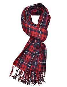 Woogwin Winter Warm Plaid Scarfs for Women Long Blanket Scarf Big Grid Shawl Wrap (red)