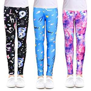 slaixiu 3-Pack Printing Flower Girl Leggings Kids Classic Pants 4-13Y(ZGHI_8-9,75#)