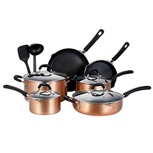 EPPMO Nonstick Cookware Set, Pots and Pans, Stay Cool Silicone Handle, 12-Piece Set, Copper