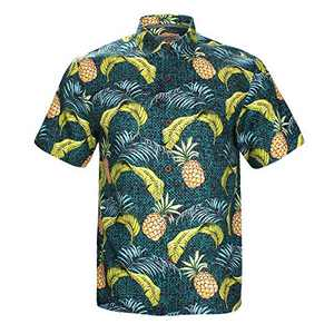Havana Breeze Men's Relaxed-Fit 100% Linen Shirt Green and Pineapple Palms XL