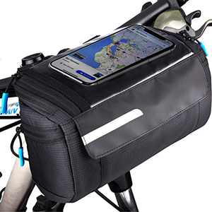 OBOVA Bike Handlebar Bags, Bike Pouch Handlebars Waterproof Compact Quick Release with Touchscreen Cell Phone Holder | Bicycle Handlebar Bag, Front Frame Storage Bags Basket for Bicycles, Road MTB