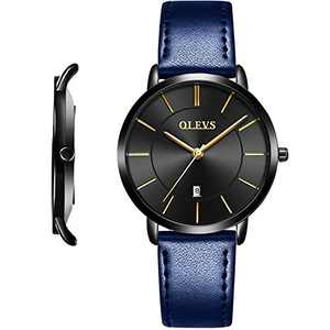 OLEVS Women's Watches Leather Band for Ladies Female Minimalist Slim Wrist Watch Navy Blue Ultra Thin Strap Waterproof Fashion Casual Simple Dress Quartz Analog Classic Gifts with Date Dial Black