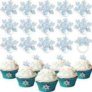 48 Pieces Snowflake Cupcake Rings Snow Ring Cake Decorations Frozen Cupcake Topper Rings for Party Supplies