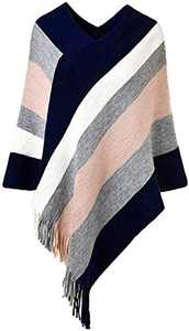 Women's Elegant Knit Sweater Tassel Poncho Stripe Cape Shawl with Fringe Pink Plus