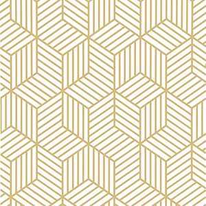 "White and Gold Peel and Stick Wallpaper Geometric Hexagon Wallpaper17.7""x78.7""Modern Stripe Wallpaper Peel and Stick Gold Wall Paper Golden Contact Paper Vinyl Self Adhesive Removable Wall Decorative"