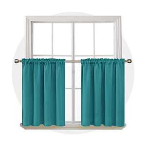 Deconovo Rod Pocket Curtains Thermal Insulated Window Curtains Light Blocking Blackout Panels for Bedroom 52Wx36L Inch Turquoise 2 Drapes
