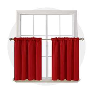 Deconovo Half Window Rod Pocket Blackout Curtains Room Darkening Panels Blackout Thermal Insulated Curtain for Girls Room 52Wx36L Inch Red 2 Drapes