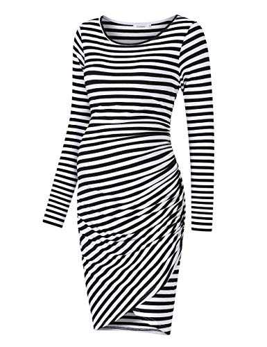 Coolmee Womens Maternity Dresses Casual Ruched Long Sleeve Irregular Bodycon Mini Dress for Women (M,BlackW-Long)