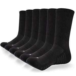 coskefy 6 Pairs Sports Socks Cushioned Walking Socks Hiking Socks Crew Athletic Socks Men Women Ladies for Outdoor Trekking Running Trainer Fitness