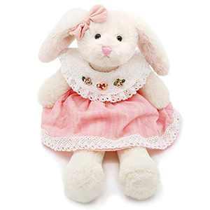 Oitscute Small Soft Stuffed Animal Bunny Rabbit Plush Toy for Baby Girls 15inch (White Rabbit Wearing Pink Stripe Dress)