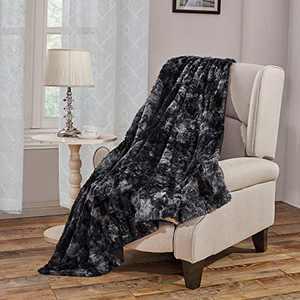 "Faux Fur Bed Blanket Soft Cozy Warm Fluffy Variation Print Minky Fleece Throw Blanket, Black, 50""×60"""