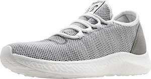 BenSorts Mens Slip On Sneakers Comfortable Walking Shoes Breathable Mesh Tennis Shoes for Gym Workout Running Size 10 Grey