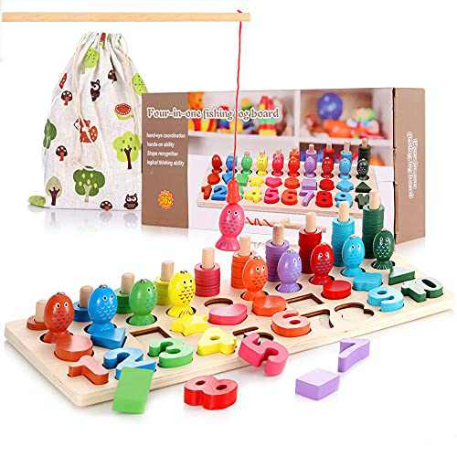 Wooden Montessori Math Puzzle Toys for Toddlers, Girls, and Boys, Shape Sorter Game for Age 3 4 5, 4 In 1 Educational Learning Toys for Fishing, Counting, Sorting & Stacking, Best Gift for Kids