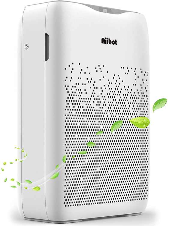 Aiibot Air Purifier for Home Large Bedroom with True HEPA Filter,Ioziner,CADR210m³/h,Timer,3 Speeds,Sleep Mode,Air Cleaner for Dust,Pet Allergies,Smokers,Pollen,Odors