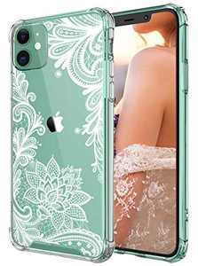 Cutebe Clear Case for iPhone 11, Shockproof Series Hard PC+ TPU Bumper Protective Cover for iPhone 11 6.1 Inch Crystal Floral Design(White) for Women,Girls