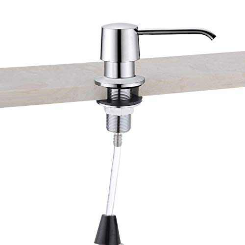 """Soap Dispenser Chrome and Extension Tube Kit for Kitchen Sink, Complete Brass Pump, 47.3"""" Tube Connect to The Soap Bottle Directly, Say Goodbye to Frequent Refills"""