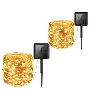 Holiday Lights,Solar String Lights Outdoor, 2 Pack 33ft 8 Modes String Lights, LED Lights, Waterproof IP65 Fairy Christmas Decorative Lights for Patio , Wedding, Party, Christmas (66, Warm-White)
