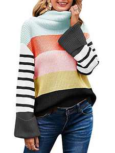 Women's Turtleneck Sweater Color Block Casual Long Sleeve Loose Chunky Knit Stripe Pullover Tops