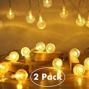 ECOWHO 2 Packs Battery Operated String Lights, 40 LED 15FT 8 Modes Waterproof Globe Crystal Ball Outdoor LED String Lights for Bedroom, Patio, Christmas (Diamater: 0.78 in)