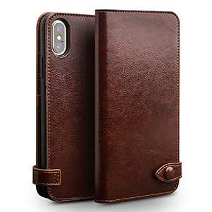 iPhone Xs Max Wallet Case Leather Genuine Flip Scratch-Proof Protective Case with Card Holder Wireless Charging Side Open Covers (Brown)