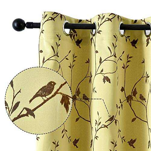 NAPEARL Birds Vines Jacquard Window Valance Curtains, Thermal Insulated Room Darkening Tiers Valance for Kitchen, Farmhouse Grommet Half Window Curtains, 42 x 24 Inch, 2 Panels, Yellow