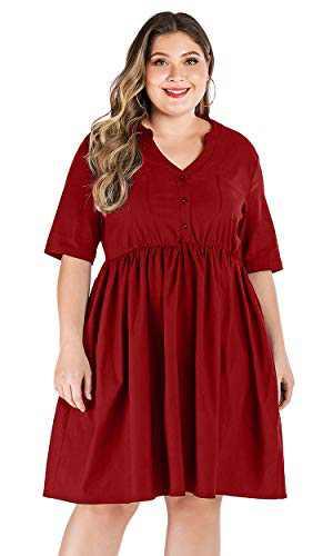 Carprinass Womens Casual Front Pocket Half Sleeve Plus Midi Day Dress Red XL