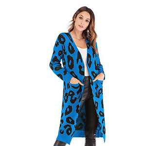 Womens Casual Open Front Cardigans Loose Long Sleeved Breathable Outwear Blue Sweater
