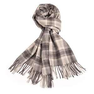 Lingso Plaid Scarfs for Women, Winter Warm Tartan Blanket Scarf Ladies Long Wraps Anti-pilling Shawl Grey