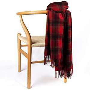Lingso Plaid Scarfs for Women, Winter Warm Tartan Blanket Scarf Ladies Long Wraps Anti-pilling Shawl Red