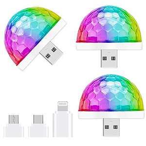 USB Mini Disco Light,3 Packs,Party Lights Ball Sound Activated, Halloween DJ Disco Ball Stage Lights-Multi Colors LED Car Atmosphere Light,Magic Strobe Light for Xmas Parties,Pool,Club,Church,Karaoke