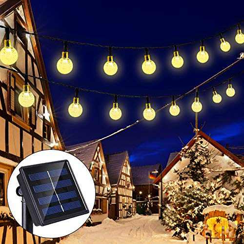 Solar String Lights 33 Feet 60 LED Outdoor Crystal Balls Waterproof Globe Fairy Lights 8 Modes Decoration Light for Patio Lawn Garden Wedding Party Home Yard Lawn Holiday (Warm White)