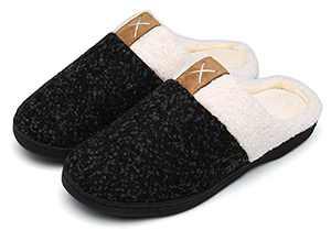 UBFEN Womens Mens Slippers Memory Foam Comfort Fuzzy Plush Lining Slip On House Shoes Indoor Outdoor Black 5-6 Women 3-4 Men