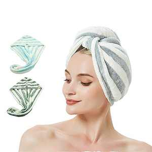 AuroTrends Microfiber Hair Towel Wrap 2 Pack,Quick Dry Hair Drying Towel Super Absorbent Hair Wrap Set of 2- 2020 Updated Version (Baby Blue+Grey)
