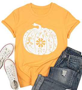 Thanksgiving Pumpkin Fall Shirts for Women Floral Pumpkin Graphic Short Sleeve Tshirt Tee Tops Size L (Yellow)