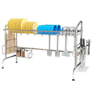 MNOPQ Over the Sink Dish Drying Rack, 1-Tier Large Stainless Steel Dish Drainers for Kitchen Counter