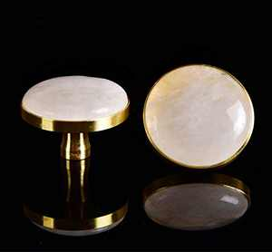 "AMOYSTONE Nature Clear Quartz Crystal Drawer Knobs Cabinet Dresser Pulls White for Wardrobe Nightstand 2PCS, 1.5 x 1.5"" Brushed Brass Base"