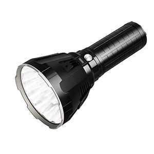 MS18 Super Bright Flashlight with 100,000 Lumens, Shines Up to 1350 Meters, 18pcs Cree XHP70 2nd LEDs, with OLED Display and Built-in Cooling Tools