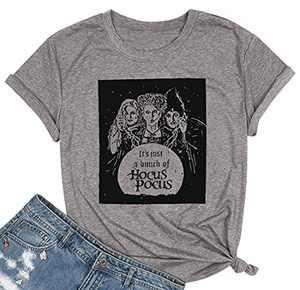 Sanderson Sisters T Shirt Women Halloween Graphic Tees Hocus Pocus Shirts Casual Short Sleeve Tops Grey