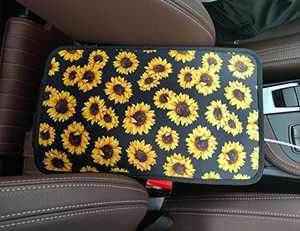 RANXIZY Neoprene Center Console Armrest Pad Cover Konsole Armour Universal Fit,Sunflower