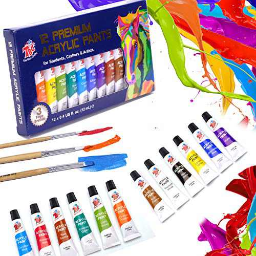 TBC The Best Crafts 12 x 12ml Acrylic Paint Set for Rock Painting Canvas Fabric Paint Arts and Crafts Supplies School Art Essentials Non Toxic Acrylic Paints for Kids Artist Hobby Painters