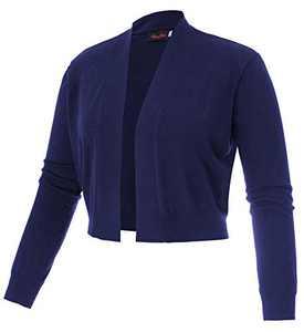 Hanna Nikole Women's Long Sleeve Cropped Cardigans Sweaters Open Front Short Shrugs Navy 20W