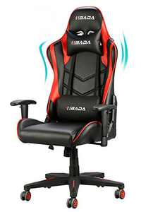 Hbada Gaming Chair Ergonomic Racing Chair High-Back Computer Chair with Height Adjustment Headrest and Lumbar Support E-Sports Swivel Chair, Red and Black