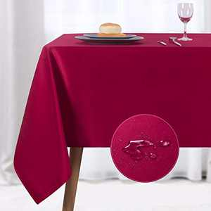 NLMUVW Rectangle Table Cloth, Waterproof Oblong Tablecloth, Microfiber Fabric 210 GSM Table Cover for Party Picnic Outdoor and Indoor Use (60 x 120 Inch, Red)
