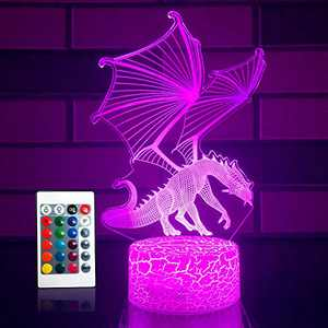 SETIFUNI Dragon lamp Dragon Toys Night Light 16 Colors Changing 3D Optical Illusion Bedside Lamp Birthday Gifts for 3 4 5 6+Years Old Boys and Girls