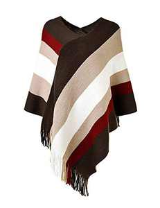 Women's Elegant Knit Sweater Tassel Poncho Stripe Cape Shawl with Fringe Coffee Red Plus