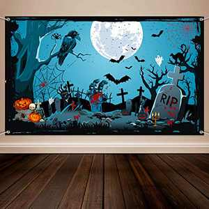Halloween Party Decorations, Cemetery Background Backdrop Banner, Cemetery Scenic Party Background Halloween Photo Booth Banner Supplies, 72.8 x 43.3 Inch