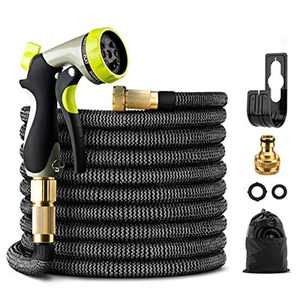 GIGALUMI Expandable Garden Hose 50Ft/15M Expanding Garden Hose Pipe with Brass Connectors, 8 Function Spray, Flexible Anti-Kink for Home, Garden, Patio and Car Cleaning