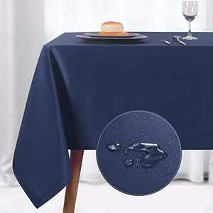 NLMUVW Rectangle Table Cloth, Waterproof Oblong Tablecloth, Microfiber Fabric 210 GSM Table Cover for Party Picnic Outdoor and Indoor Use (60 x 140 Inch, Navy)