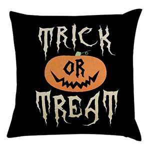 TOPIA STAR Halloween Letters Pumpkin Pattern Pillowcase Linen Throw Pillow Cover for Home Decor (B, 18x18 inch)